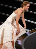 Jennifer Lawrence slips and falls at the Oscars x3